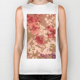 Red Petunias With Sweet White Flowers Biker Tank