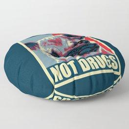 Pugs Not Drugs Funny Propaganda Floor Pillow