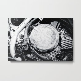 Motorcycle Engine Details Black White Metal Print