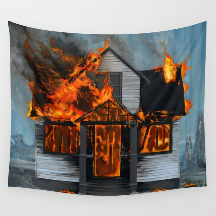 House on Fire Wall Tapestry