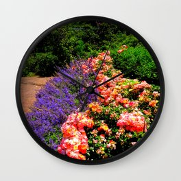 Photos USA Brooklyn Botanic Garden rose Nature Gardens Delphinium Bush Roses larkspur Shrubs Wall Clock