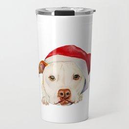 Christmas Pit Bull Terrier Dog with Santa Hat Travel Mug