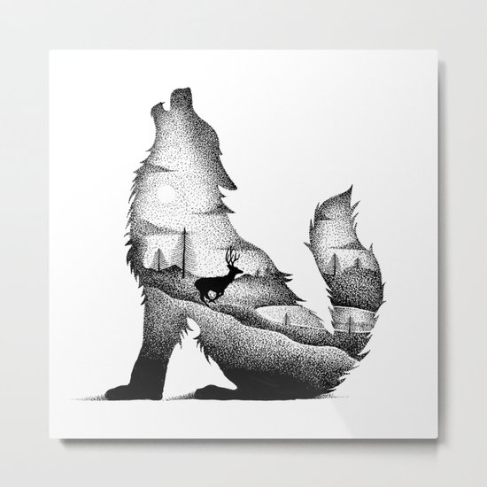 THE WOLF AND THE DEER Metal Print