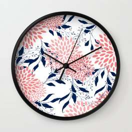 Floral Prints and Leaves, Navy Blue, Pink and White Wall Clock