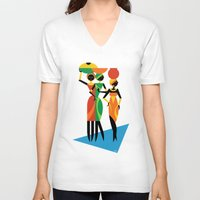 african V-neck T-shirts featuring African Women by Szoki