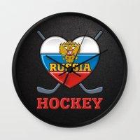 hockey Wall Clocks featuring HOCKEY by frail