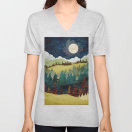 Autumn Moon. Nature abstract art. Vintage illustration. Unisex V-Neck