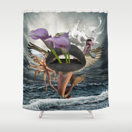 Behind and Beyond Shower Curtain