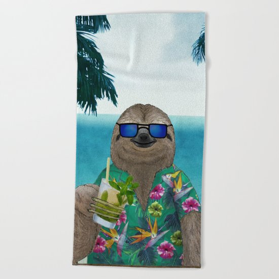Sloth on summer holidays drinking a mojito Beach Towel