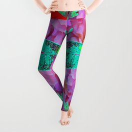 EMERALD DRAGONFLIES  PINK ROSES RED COLOR Leggings