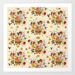 Butterfly Bouquet on Raw Silk Art Print
