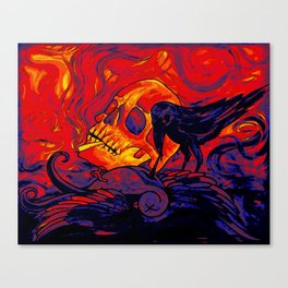 When the sparrow met the raven digital remix Canvas Print