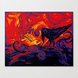 When the sparrow met the raven digital remix Canvas Print
