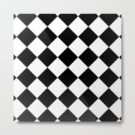 Diamond (Black & White Pattern) Metal Print
