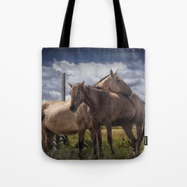 Western Horses in the Pasture by a Wooden Fence Tote Bag