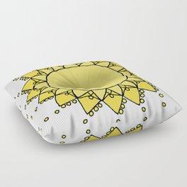 Celestial Swirling Sun Boho Mandala Hand-drawn Illustration on White Floor Pillow