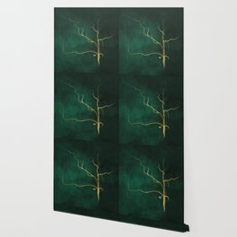 Kintsugi Emerald #green #gold #kintsugi #japan #marble #watercolor #abstract Wallpaper
