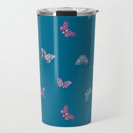 Christmas jeweled butterflies on teal, butterfly, jewels, precious, butterflies, new year, t Travel Mug