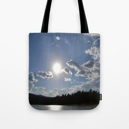 Sun Over Lake in White Mountains Arizona Tote Bag