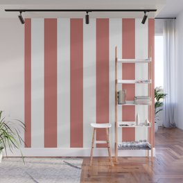 Camellia Pink and White Wide Vertical Cabana Stripes Wall Mural