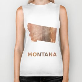 Montana map outline Rosy brown nebulous wash drawing pattern Biker Tank