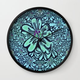flowers of love in the fantasy forest of namaste pop-art Wall Clock