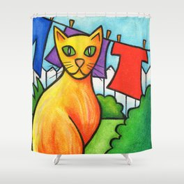 Cat On Fence Shower Curtain