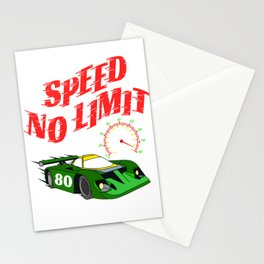 """Made specially for auto-racing lovers out there! Makes a nice gift too! """"Speed No Limit"""" tee design Stationery Cards"""