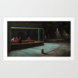 Nighthawks (oil on canvas) Art Print
