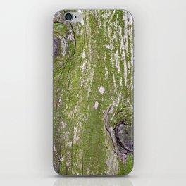 Green lichens on wood iPhone Skin