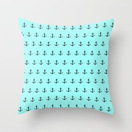 anchor minty green dot com on cdrom Throw Pillow