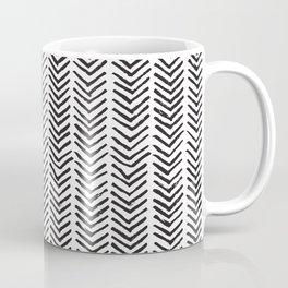 Black and white brush painted chevron Coffee Mug