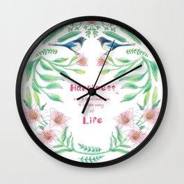Happiness - Botanic bird water lily - Green, pink - Circle Wall Clock