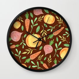 Colorful fruits & vegetable pattern Wall Clock