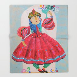 Qajar princess Throw Blanket