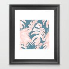 Palm Leaves Pink Coral on Deep Ocean Blue Framed Art Print
