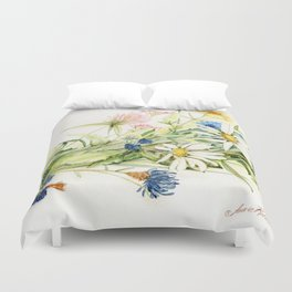 Bouquet of Wildflowers Original Colored Pencil Drawing Duvet Cover