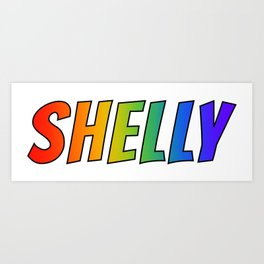 """SHELLY"" First Name Rainbow Spectrum Gradient Colors Pattern Art Print"
