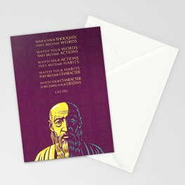 Lao Tzu Inspirational Quote: Watch your thoughts Stationery Cards