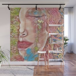 Freya's Tears - The Gold Rush Colors of Spring (Golden Tears) portrait painting by Gustav Klimt Wall Mural