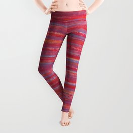 Stripes  - Candy pink red orange and blue Leggings