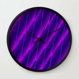 Slanting repetitive lines and rhombuses on luminous violet with intersection of glare. Wall Clock