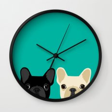 2 French Bulldogs Wall Clock