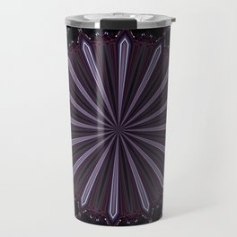 Eggplant and Pale Aubergine Abstract Floral Pattern Travel Mug