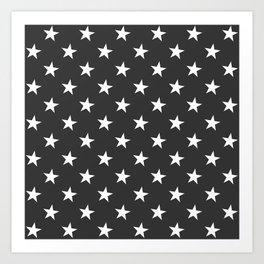 Black White Stars Art Print