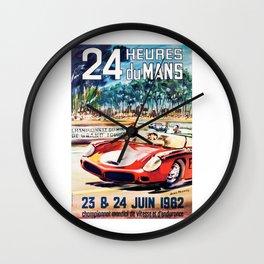 Le Mans 1962 vintage poster, Le Mans t-shirt, Le Mans poster Wall Clock