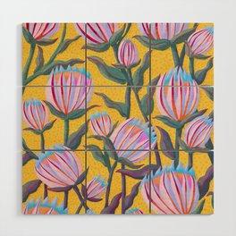 Bold Protea Flower Pattern - Pink Blue Green Purple Yellow Wood Wall Art