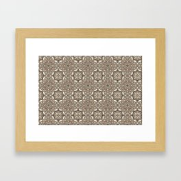 Ornamental Scroll Pattern Earthen Trail, Melon Green, Dover White & Ever Classic Gray Framed Art Print