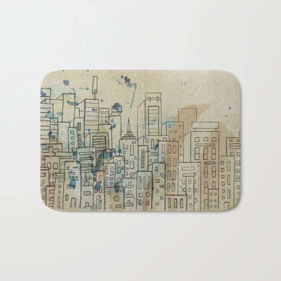Sketch of buildings in a city that doesn't exist Bath Mat