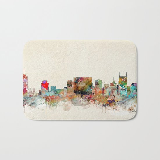 nashville tennessee skyline Bath Mat